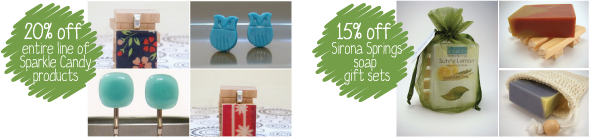20% off entire line of Sparkle Candy, and 15% off of Sirona Springs soap gift sets at Modern Mouse!