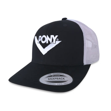 JOCKEY TRUCKER NEGRO/BLANCO CHEVRON BORDADO