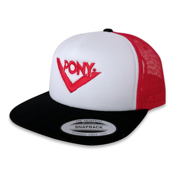 JOCKEY TRUCKER FOAM BLANCO/ROJO/NEGRO CHEVRON BORDADO