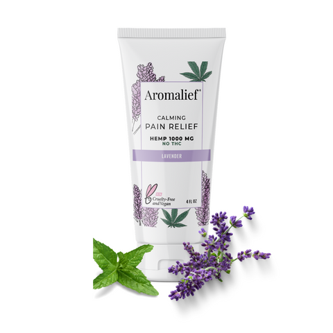 Aromalief Hemp Pain Relief Cream Lavender and Mint Leaves