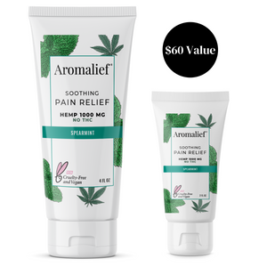 Aromalief Soothing Spearmint Hemp Pain Relief Cream 4oz Full Size and 2oz Travel Size