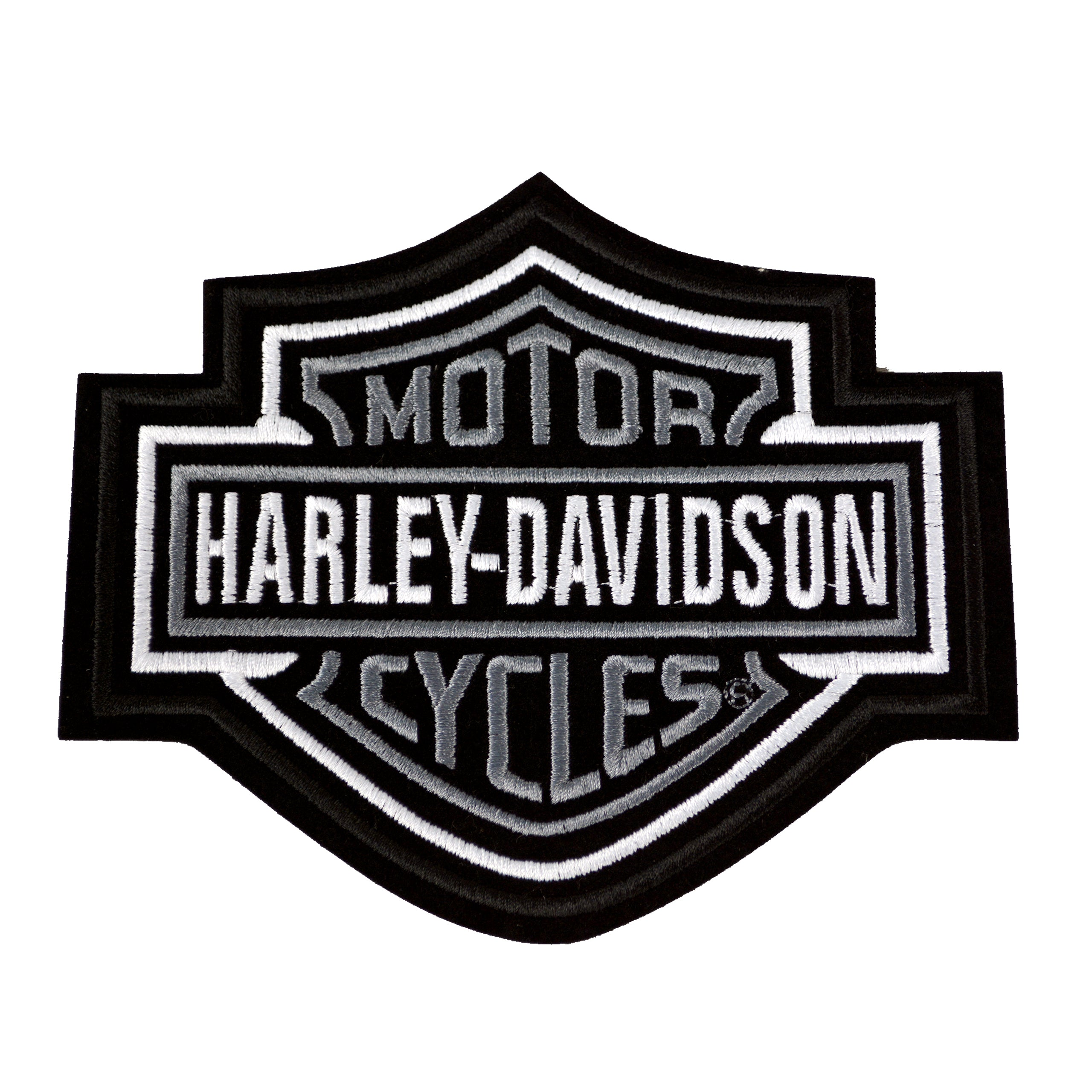 Harley-Davidson® Silver Bar & Shield Patch. Medium - EMB302543