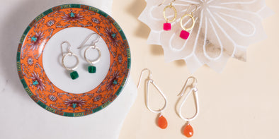 Our handmade gemstone earrings each have different stones unique in size shape and color.