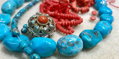 A selection of turquoise beads from the SASKIA studio