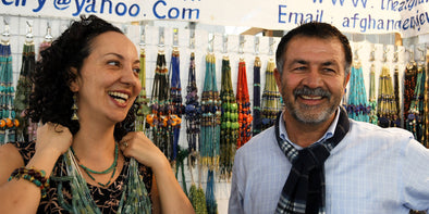 Saskia , our designer, with one of our bead vendors in Tucson Arizona.