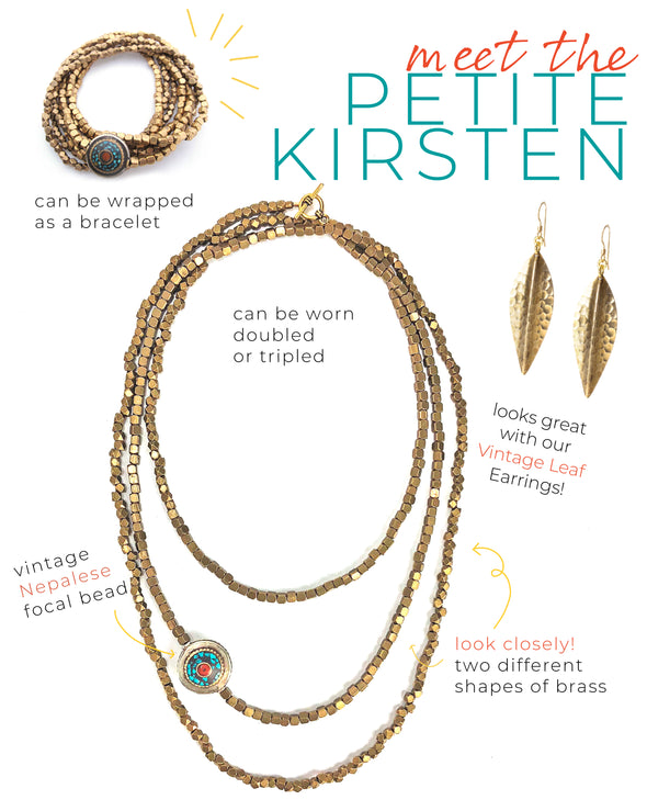 Petite Kirsten is a brass beaded necklace accented with a turquoise and coral focal. This unique statement necklace has an earthy, rustic, boho feel and like all SASKIA jewelry this handmade necklace is made in our Brooklyn studio using materials from around the world.