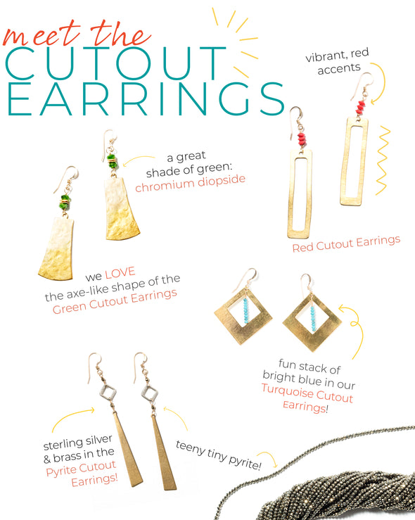 Green Cutout Earrings - SASKIA