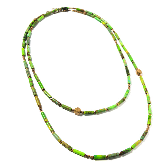 The Bamboo is a long bohemian necklace using mottled greens or blues. This boho necklace uses green turquoise or turquoise and lapis lazuli. Like all SASKIA jewelry, this beaded necklace is handmade in our Brooklyn studio using materials from around the world.