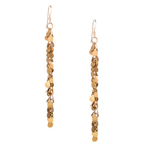 These fun handmade gold dangle earrings recall a 1920's era flapper dress. Like all SASKIA jewelry the Confetti earrings are handmade in our Brooklyn studio using materials from around the world.