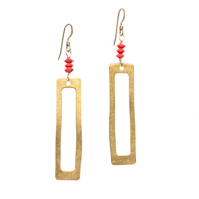 The Red Cutout Earrings are dangly, brass earrings. These fun necklace are made of brass and recycled, reconstituted minerals. Like all SASKIA jewelry, this unique beaded necklace is handmade in our Brooklyn studio using materials from around the world.