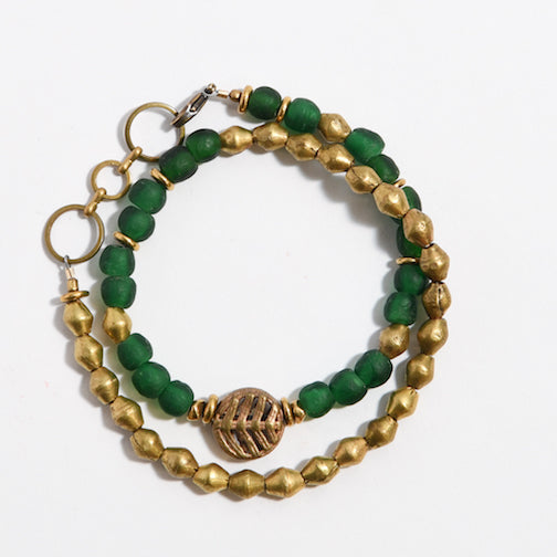 Thin Volta Bracelet Dark Green - SASKIA