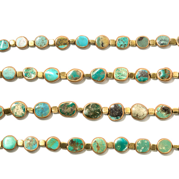 The Egyptian Spring bracelet incorporates rustic turquoise wrapped in gold foil with geometric Indian brass spacers. This is a great stackable bracelet, it's a colorful and funky bracelet. Like all SASKIA pieces, the Egyptian Spring bracelet is handmade in our Brooklyn studio using materials from around the world.