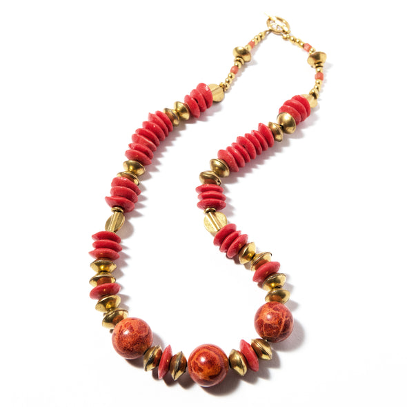 Fire and Ice are red and blue statement necklaces using brass and glass beads. These bold necklaces use raw brass and polished glass beads from Ghana. Like all SASKIA jewelry, this beaded necklace is handmade in our Brooklyn studio using materials from around the world.