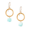 Amazonite Gold Circle Gemstone Earrings - SASKIA