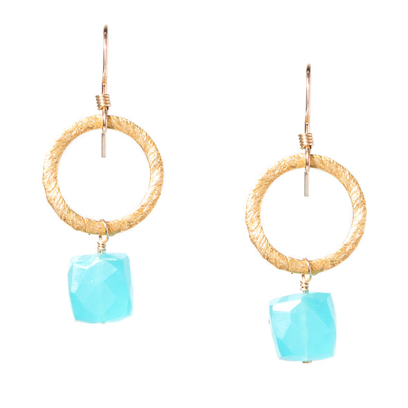 Gold Circle Gemstone Earrings - SASKIA