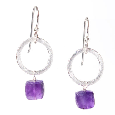 Amethyst Silver Circle Gemstone Earrings - SASKIA