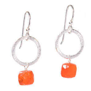 Carnelian Silver Circle Gemstone Earrings - SASKIA