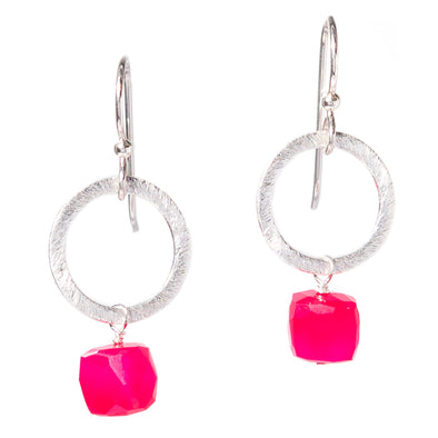 Hot Pink Chalcedony Silver Circle Gemstone Earrings - SASKIA