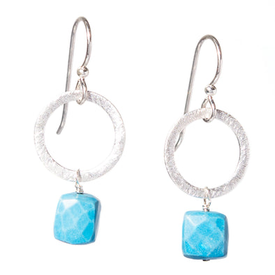 Howlite Silver Circle Gemstone Earrings - SASKIA