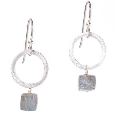 Labradorite Silver Circle Gemstone Earrings - SASKIA