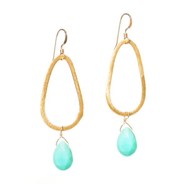 Gold Teardrop Gemstone Earrings - SASKIA