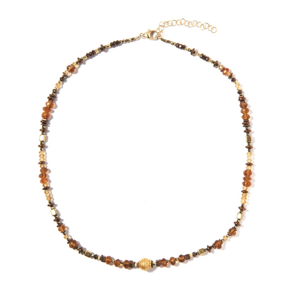 Honey is a delicate beaded necklace made of orange and yellow citrine. This unique short necklace is elegant, interesting, and intricate and like all SASKIA jewelry is handmade is our Brooklyn studio using materials from around the world.