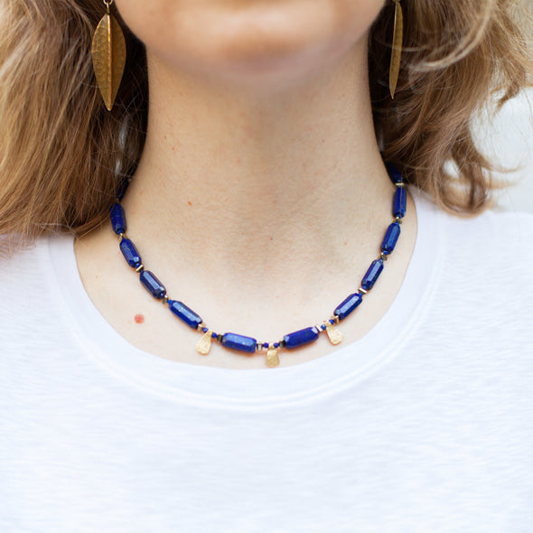 The Indus Valley is a blue bohemian necklace using dark blues and gold tones. This boho necklace uses a polished lapis lazuli, hematite and gold vermeil. Like all SASKIA jewelry, this beaded necklace is handmade in our Brooklyn studio using materials from around the world.
