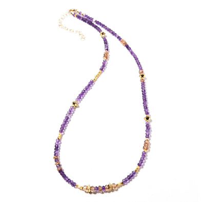 This delicate amethyst necklace is dainty and bright. It's colorful and dainty and can stand alone or be worn layered with other beaded necklaces. Like all SASKIA jewelry, this necklace is handmade in our Brooklyn studio using materials from around the world.