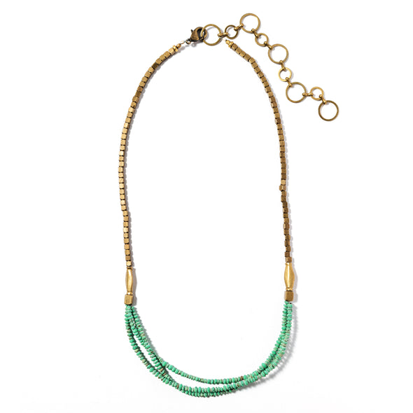 Mesopotamia is a multi strand necklace made of malachite and brass. This unique boho necklace has a rustic feel. Like all SASKIA jewelry, this beaded necklace is handmade in our Brooklyn studio using materials from around the world.