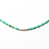Oasis is a turquoise choker necklace. This boho necklace is unique and delicate. Like all SASKIA jewelry, this beaded necklace is handmade in our Brooklyn studio using materials from around the world.