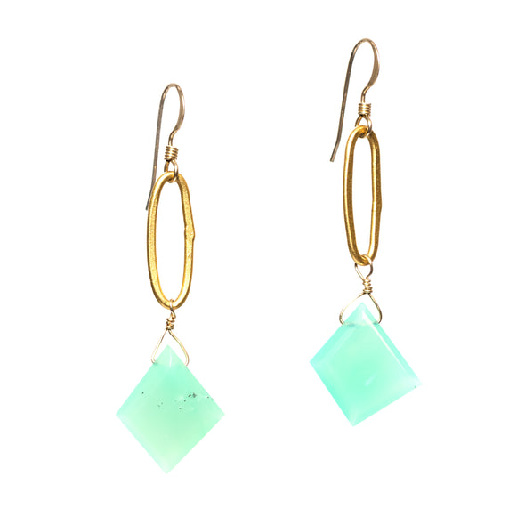 Our Paperclip earrings are gold and blue/green dangle earrings. Like all SASKIA jewelry these chrysoprase earrings are handmade in our Brooklyn studio using materials from around the world.