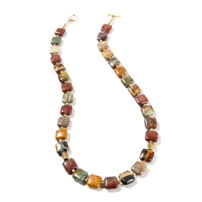 Picasso Pequeño is a bold jasper necklace. This statement necklace is earthy and rustic feeling. Like all SASKIA jewelry, this unique handmade necklace is made in our Brooklyn studio using materials from around the world.