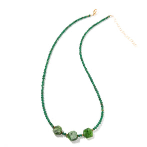The Pine is a deep green delicate necklace. This boho necklace uses green hexagonal chromium diopside and nephrite gems. Like all SASKIA jewelry, this beaded necklace is handmade in our Brooklyn studio using materials from around the world.