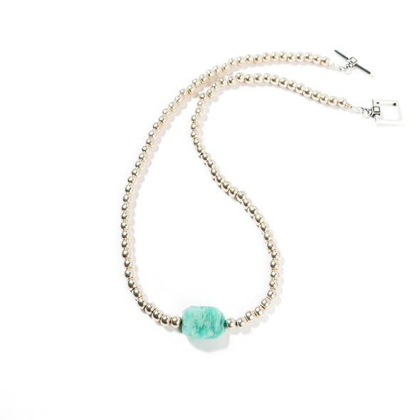 Raindrop is a unique beaded necklace. With an amazonite focal bead this bold statement necklace is short enough to be layered with other pieces. Like all SASKIA jewelry, the Raindrop necklace is handmade in our Brooklyn studio using materials from around the world.