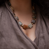 Picasso Squared is a bold jasper necklace. This statement necklace is earthy and rustic feeling. Like all SASKIA jewelry, this unique handmade necklace is made in our Brooklyn studio using materials from around the world.