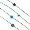 Sprite is a long turquoise necklace that can be wrapped into a short turquoise choker. This delicate yet bold necklace is beaded with multicolored natural turquoise stones. Like all SASKIA jewelry, this statement beaded necklace is handmade in our Brooklyn studio using materials from around the world.