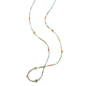 Sueño is a long quartz necklace that can be wrapped. This delicate blue necklace is unique and boho feeling. Like all SASKIA jewelry this beaded necklace is handmade in our Brooklyn studio using materials from around the world.