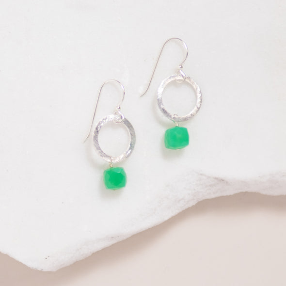 Silver Circle Gemstone Earrings