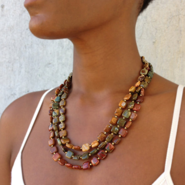 Picasso Largo is a multi strand jasper necklace. This bold statement necklace is earthy and rustic feeling. Like all SASKIA jewelry, this unique handmade necklace is made in our Brooklyn studio using materials from around the world.
