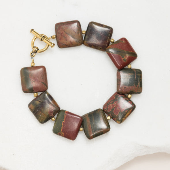 This jasper bracelet is geometric, rustic, and boho feeling. Like all SASKIA jewelry, this beaded bracelet is handmade in our Brooklyn studio using materials from around the world.