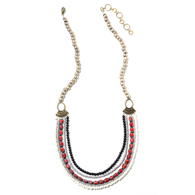 Ziwa is a multi strand statement necklace with glass beads. This bold unique necklace is one of a kind and truly special. Like all SASKIA jewelry this beaded necklace is handmade in our Brooklyn studio using materials from around the world.