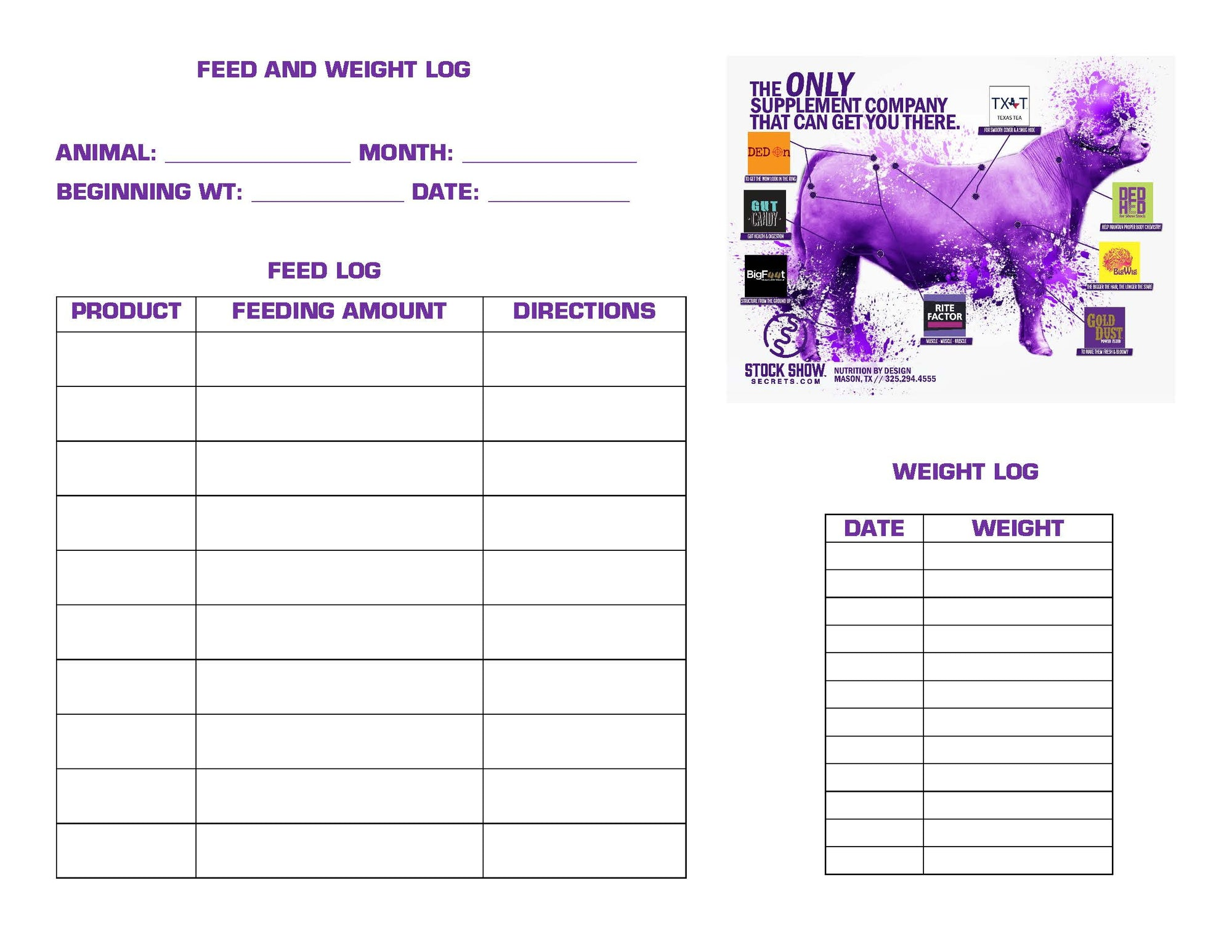 FEED AND WEIGHT LOG -CATTLE    FREE DOWNLOAD