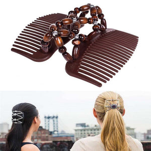 Fashion Magic Beads Elasticity Double Hair Comb Clip