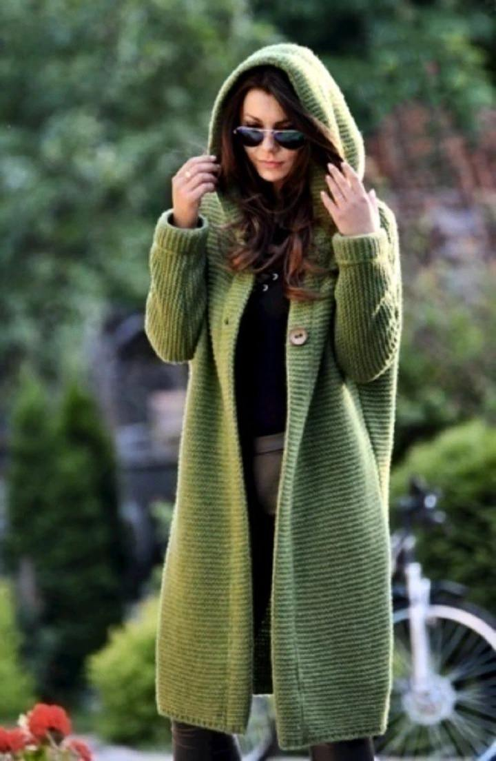 Casual Solid Color Long-Sleeve Knitting Coats & Water Resistant Oversized Hooded Windbreaker Rain Jacket
