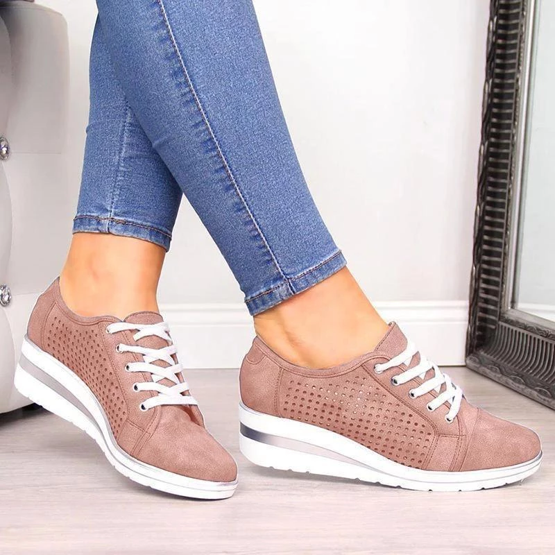 Women's Leather Hollow Out Wedge Heel Sneakers + Crystal Sizzle Sneakers(60% off-Last day promotion)
