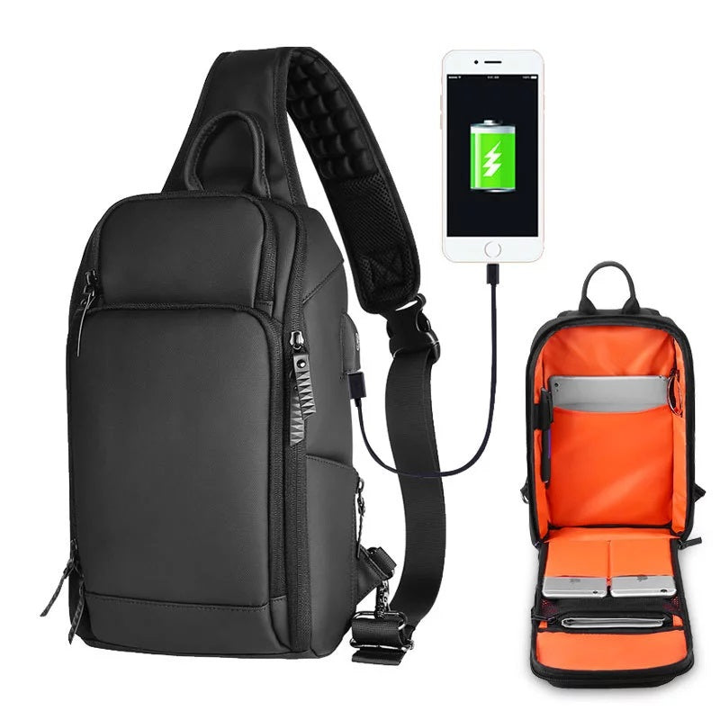 Usb Charging Chest Pack Men Casual Shoulder Crossbody Bag