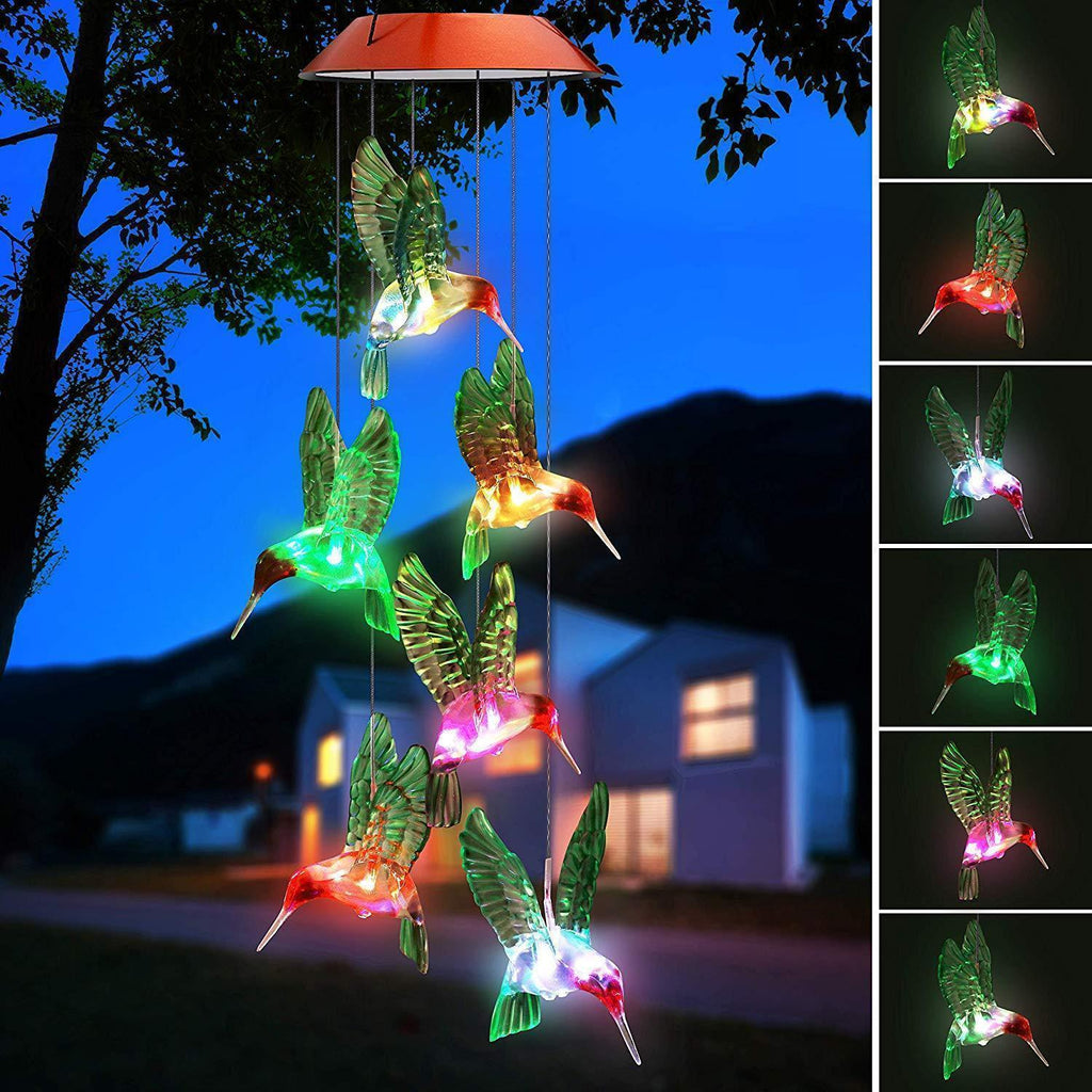 Color Changing Solar LED Hummingbird Wind Chimes