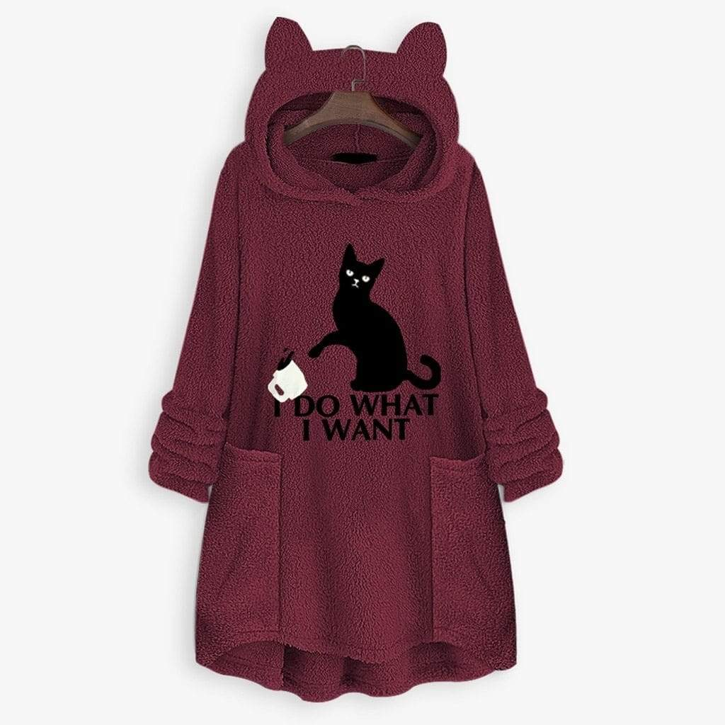 Fluffy Fleece Oversize Hoodie With Cat Ears(50% OFF-Last day promotion)