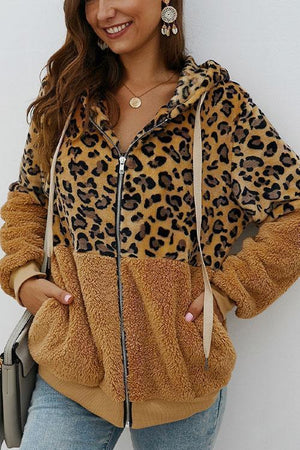 Leopard Zip-Up Patchwork Hooded Coat(70% OFF Only Today )