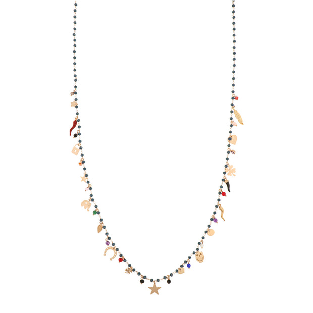 MULTI CHARM CRYSTAL LONG NECKLACE